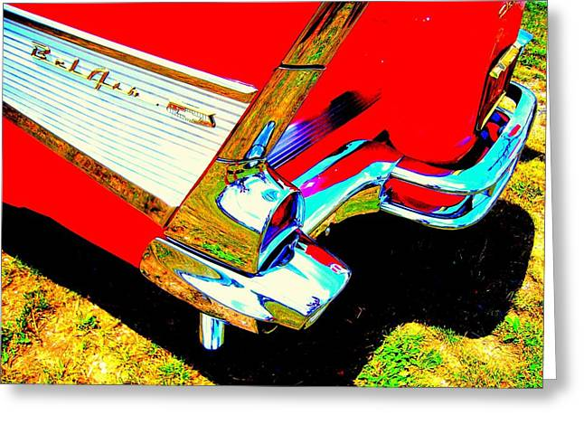 Reflections On A Chevrolet Bel Air Greeting Card by Don Struke