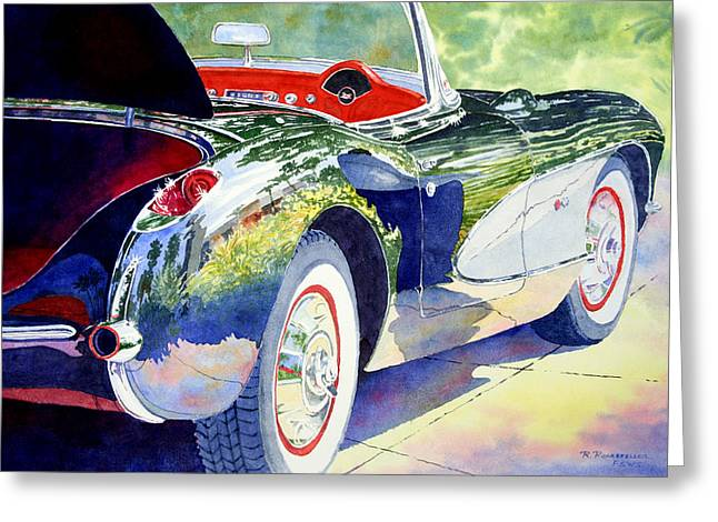 Reflections On A Corvette Greeting Card