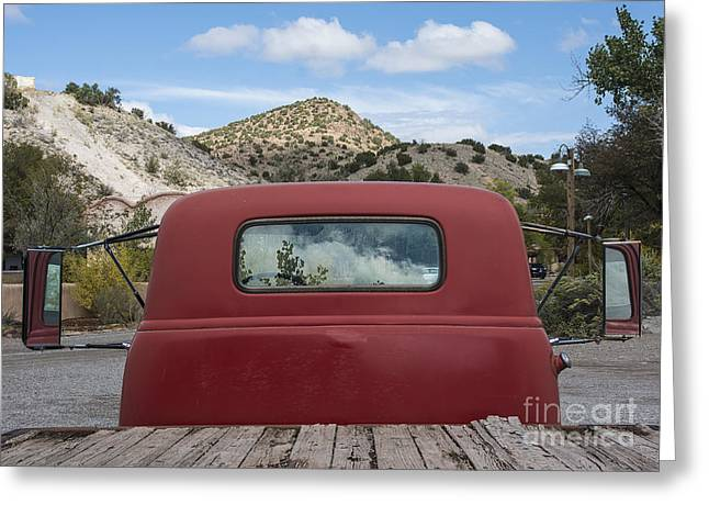 Reflections On A Red Truck Greeting Card by Terry Rowe