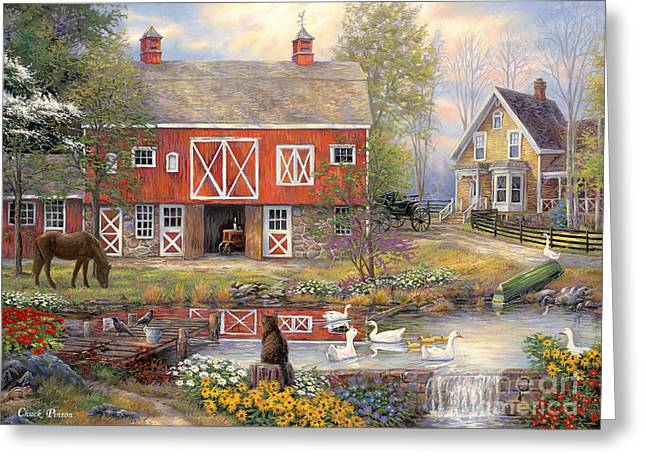 Reflections On Country Living Greeting Card by Chuck Pinson
