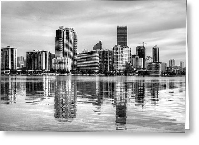 Reflections On Miami Greeting Card by William Wetmore