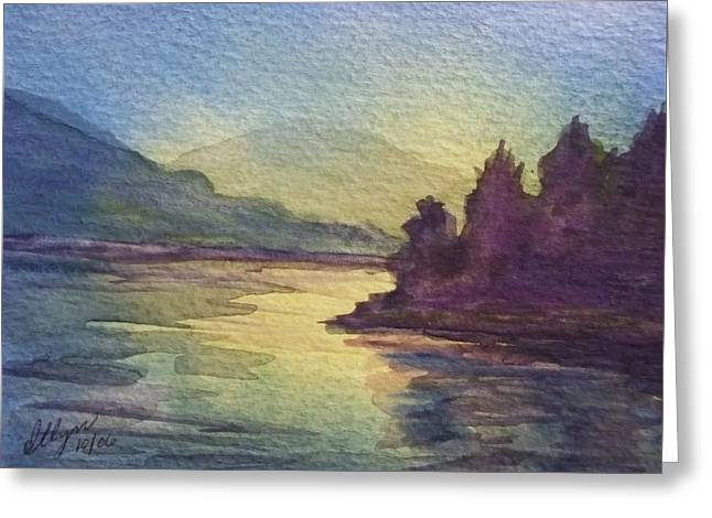 Greeting Card featuring the painting Reflections On North South Lake by Ellen Levinson
