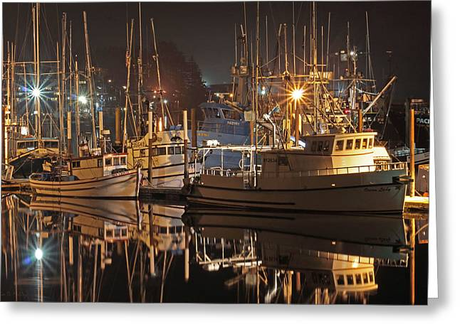 Reflections On The Bay Greeting Card by Kim Mobley