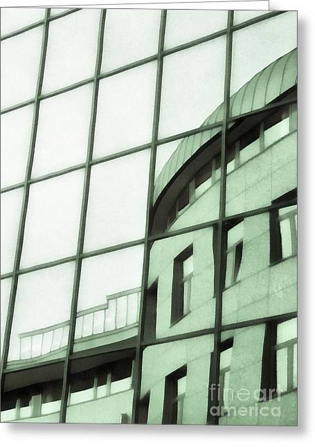 Reflections On The Building Greeting Card by Odon Czintos