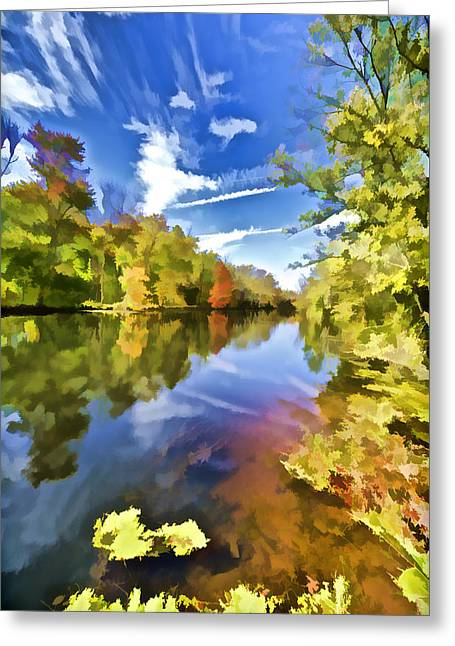 Reflections On The Canal II Greeting Card by David Letts