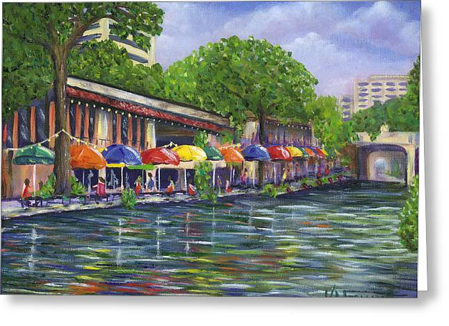 Reflections On The Riverwalk Greeting Card by Kerri Meehan