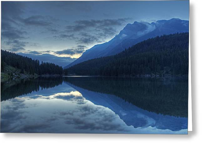 Reflections On Two Jack Lake Greeting Card
