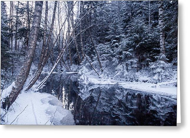 Reflections On Wintry River Greeting Card
