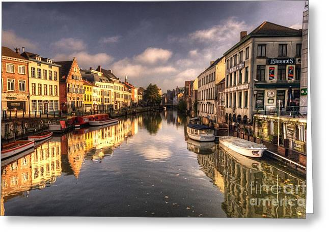 Reflections Over Ghent Greeting Card by Rob Hawkins