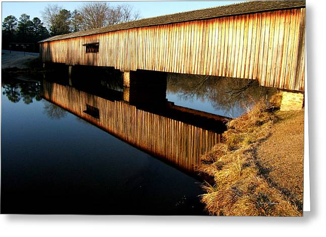 Greeting Card featuring the photograph Reflections  Watson Mill Bridge by George Bostian