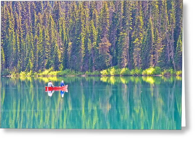 Reflective Fishing On Emerald Lake In Yoho National Park-british Columbia-canada  Greeting Card