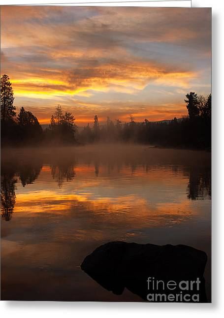 Reflective Sunrise Greeting Card by Beve Brown-Clark Photography