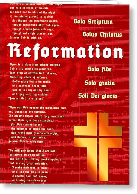 Greeting Card featuring the digital art Reformation by Chuck Mountain