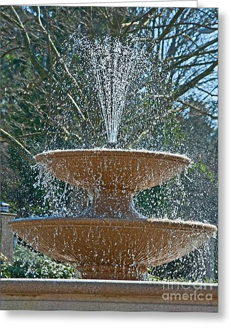 Refreshing Fountain Of Water In Sunshine Greeting Card by Valerie Garner