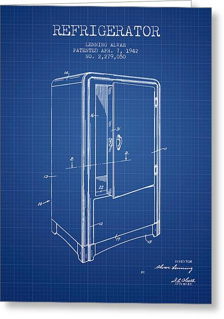 Refrigerator Patent From 1942 - Blueprint Greeting Card by Aged Pixel