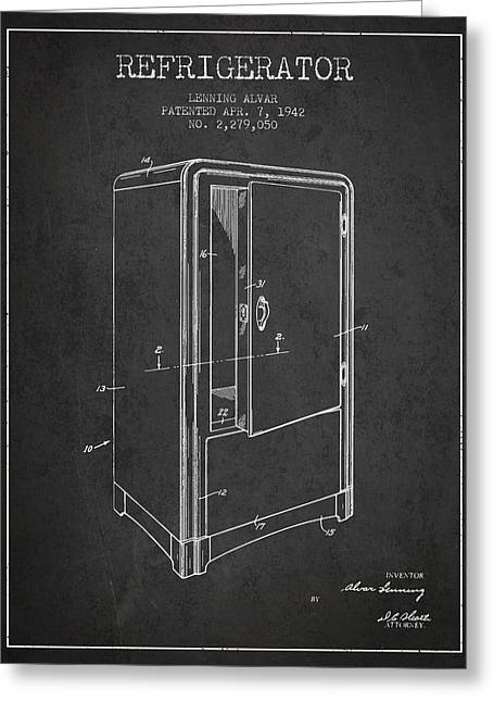 Refrigerator Patent From 1942 - Dark Greeting Card by Aged Pixel