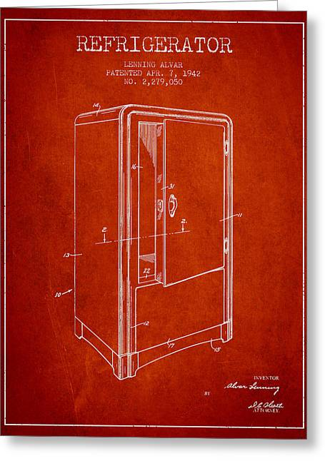 Refrigerator Patent From 1942 - Red Greeting Card