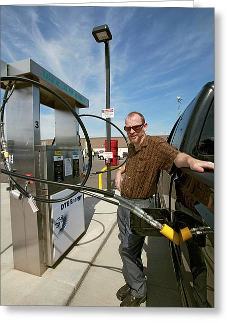 Refuelling A Natural Gas Vehicle Greeting Card