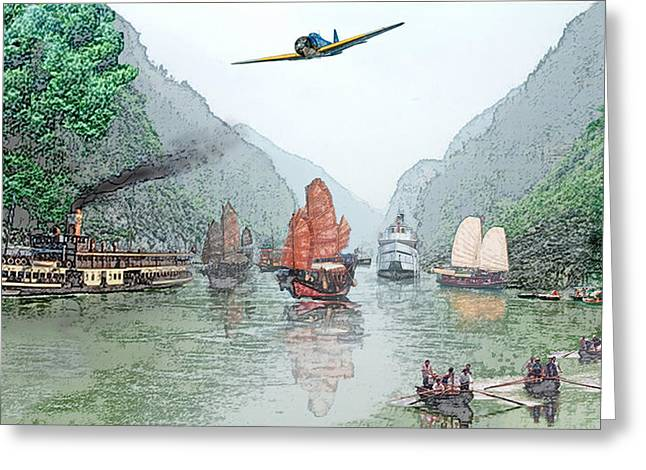 Refugees On The Yangtze Greeting Card