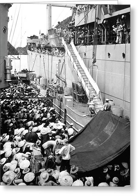 Refugees Wait To Board A Ship Greeting Card by Stocktrek Images