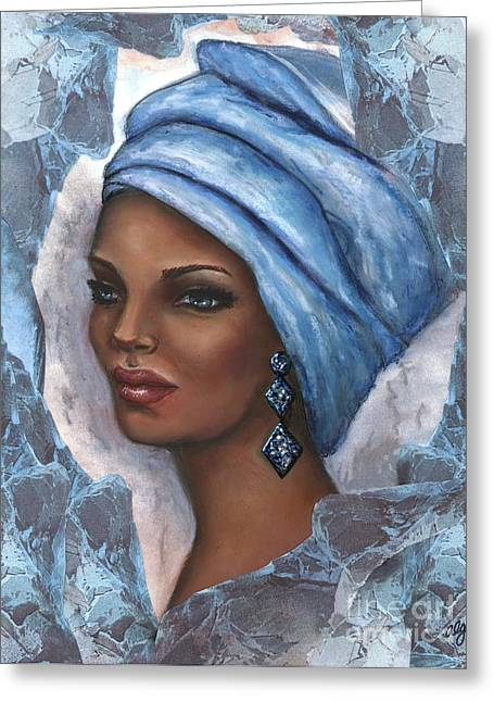 Greeting Card featuring the mixed media Regal Lady In Blue by Alga Washington