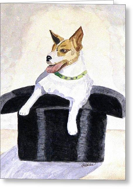 Greeting Card featuring the painting Reggie In A Top Hat  by Angela Davies