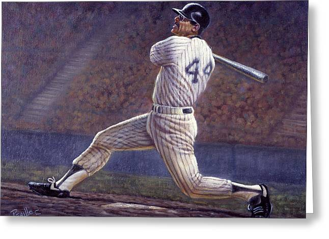 Reggie Jackson Greeting Card by Gregory Perillo