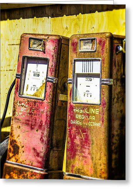 Greeting Card featuring the photograph Regular Gasoline by Steven Bateson