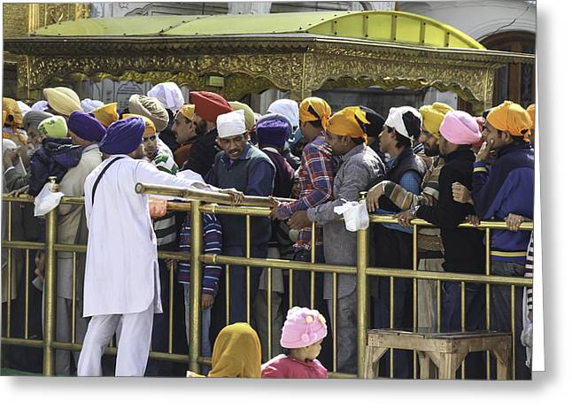 Regulating The Queue Of Devotees Inside The Golden Temple In Amritsar Greeting Card by Ashish Agarwal