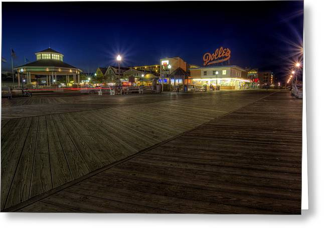 Rehoboth Beach Boardwalk At Night Greeting Card