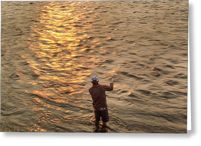 Reid Sabin Fly Fishing At Sunrise Greeting Card