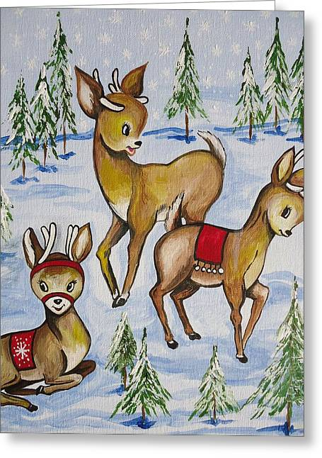 Reindeer Greeting Card by Leslie Manley