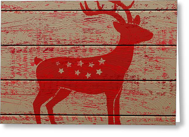 Reindeer On Old Wooden Background Greeting Card