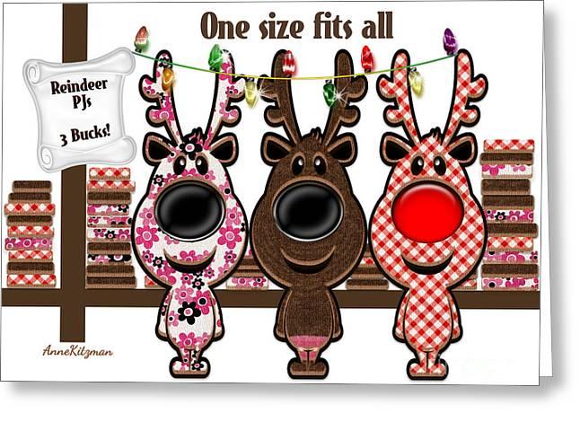 Reindeer Pjs - 3 Bucks Greeting Card by Anne Kitzman
