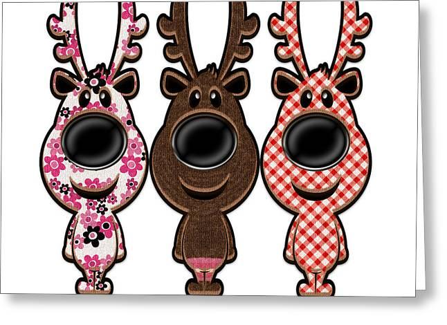 Reindeer Wearing Pjs Greeting Card by Anne Kitzman