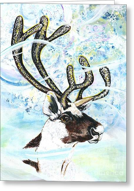 Reindeer - Winter Snow Storm Greeting Card by M E Wood