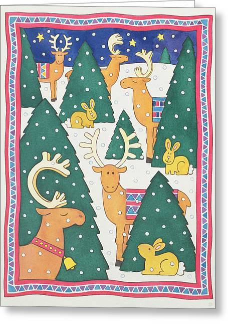 Reindeers Around The Christmas Trees Greeting Card