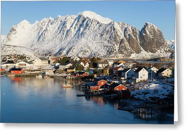 Reine Village In Winter, Lofoten Greeting Card by Peter Adams