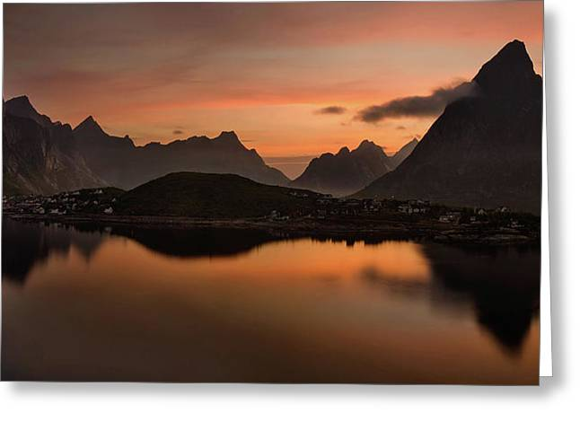 Reine Village With Dark Mountains Greeting Card