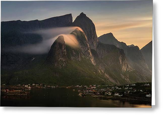 Reine Village With Mountains At Sunset Greeting Card