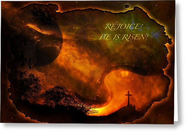 Greeting Card featuring the digital art Rejoice - He Is Risen by J Larry Walker