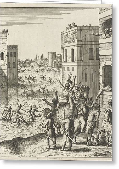 Rejoicing Of The People In Cairo, Egypt, Print Maker Jan Greeting Card by Jan Luyken And Jan Luyken And Jan Bouman