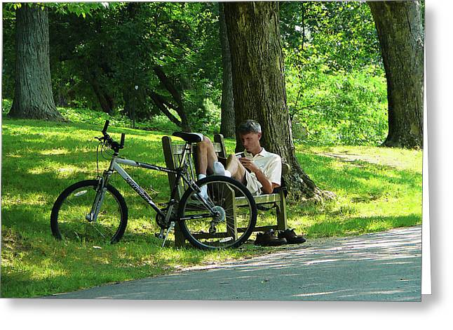 Relaxing After The Ride Greeting Card by Susan Savad