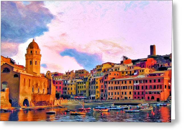 Relaxing Around Vernazza Greeting Card by Michael Pickett