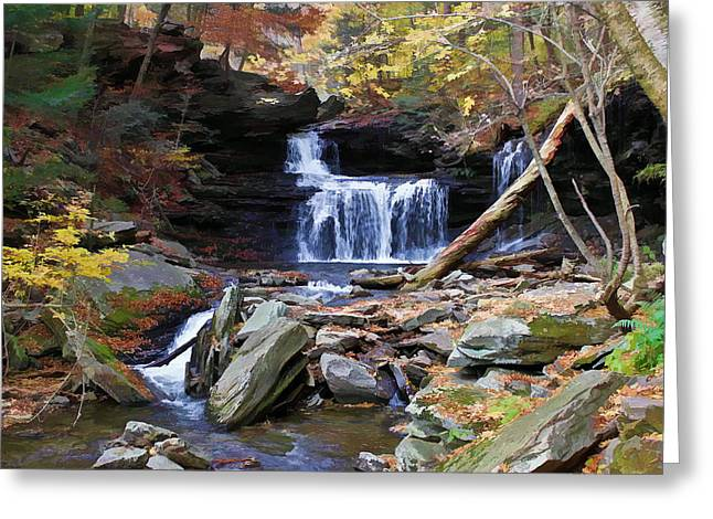 Relaxing Fall Greeting Card by David Stine