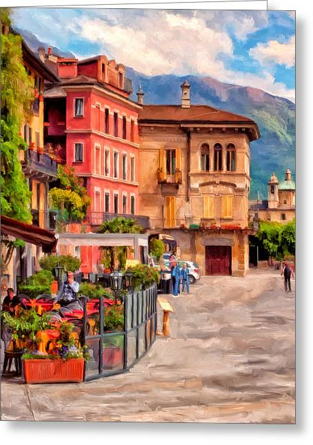 Relaxing In Baveno Greeting Card by Michael Pickett