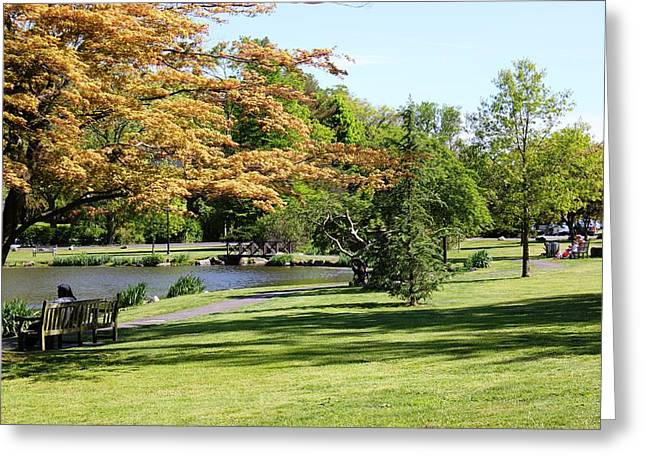 Greeting Card featuring the photograph Relaxing In The Park by Judy Palkimas