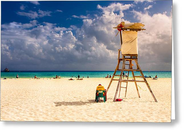 Relaxing On A Sunny Mexican Beach Greeting Card by Mark E Tisdale