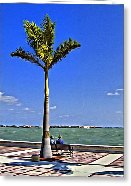 Relaxing Under A Palm Greeting Card by Patrick M Lynch