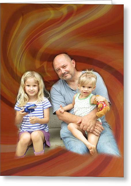 Relaxing With The Grandchildren Greeting Card